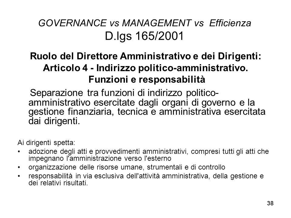 38 GOVERNANCE vs MANAGEMENT vs Efficienza D.lgs 165/2001 Ruolo del Direttore Amministrativo e dei Dirigenti: Articolo 4 - Indirizzo politico-amministr