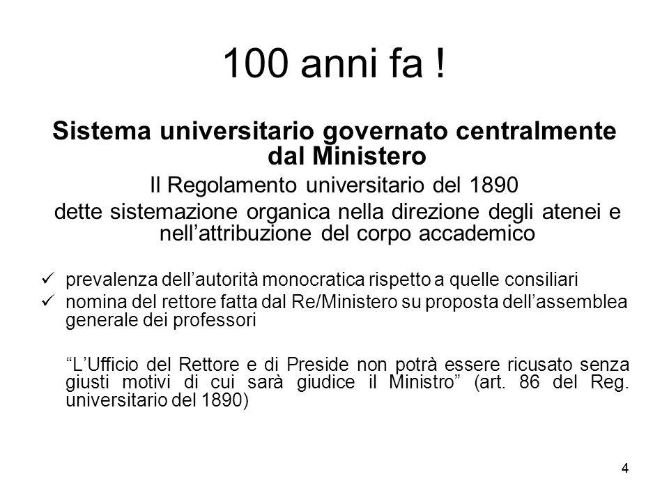 44 100 anni fa ! Sistema universitario governato centralmente dal Ministero Il Regolamento universitario del 1890 dette sistemazione organica nella di