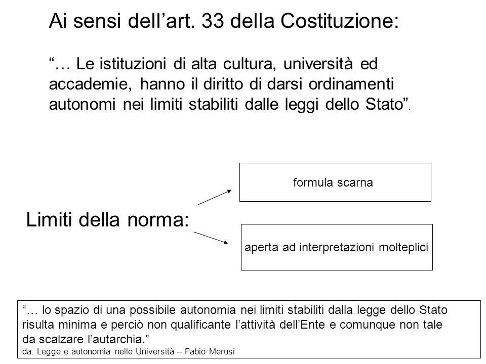 """66 Ai sensi dell'art. 33 della Costituzione: """"… Le istituzioni di alta cultura, università ed accademie, hanno il diritto di darsi ordinamenti autonom"""