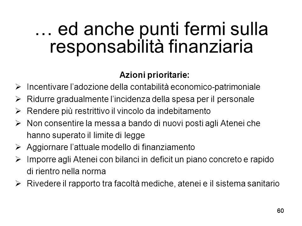 60 … ed anche punti fermi sulla responsabilità finanziaria Azioni prioritarie:  Incentivare l'adozione della contabilità economico-patrimoniale  Rid