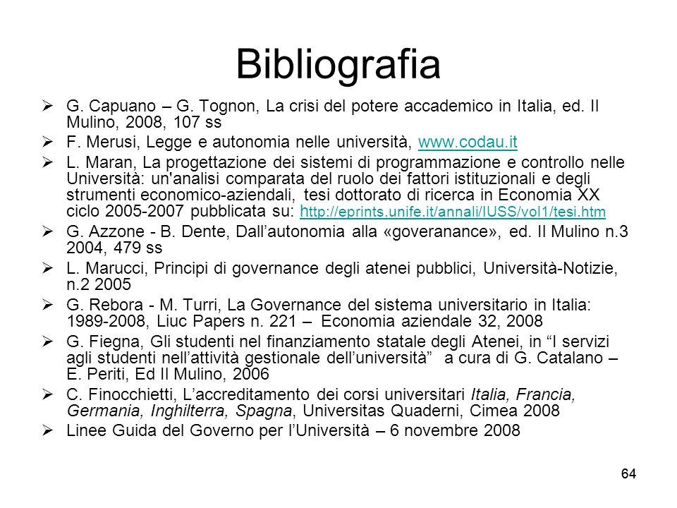 64 Bibliografia  G. Capuano – G. Tognon, La crisi del potere accademico in Italia, ed. Il Mulino, 2008, 107 ss  F. Merusi, Legge e autonomia nelle u