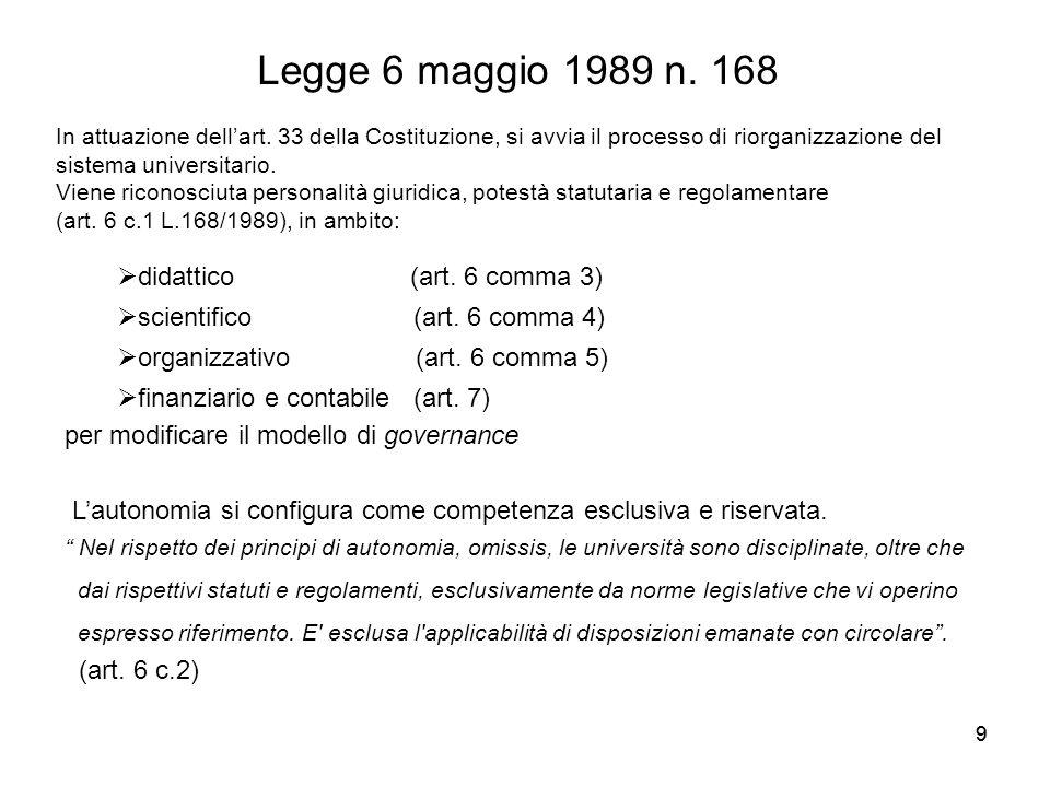 99 Legge 6 maggio 1989 n. 168 In attuazione dell'art. 33 della Costituzione, si avvia il processo di riorganizzazione del sistema universitario. Viene