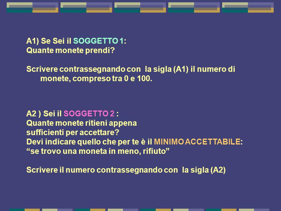 A1) Se Sei il SOGGETTO 1: Quante monete prendi? Scrivere contrassegnando con la sigla (A1) il numero di monete, compreso tra 0 e 100. A2 ) Sei il SOGG