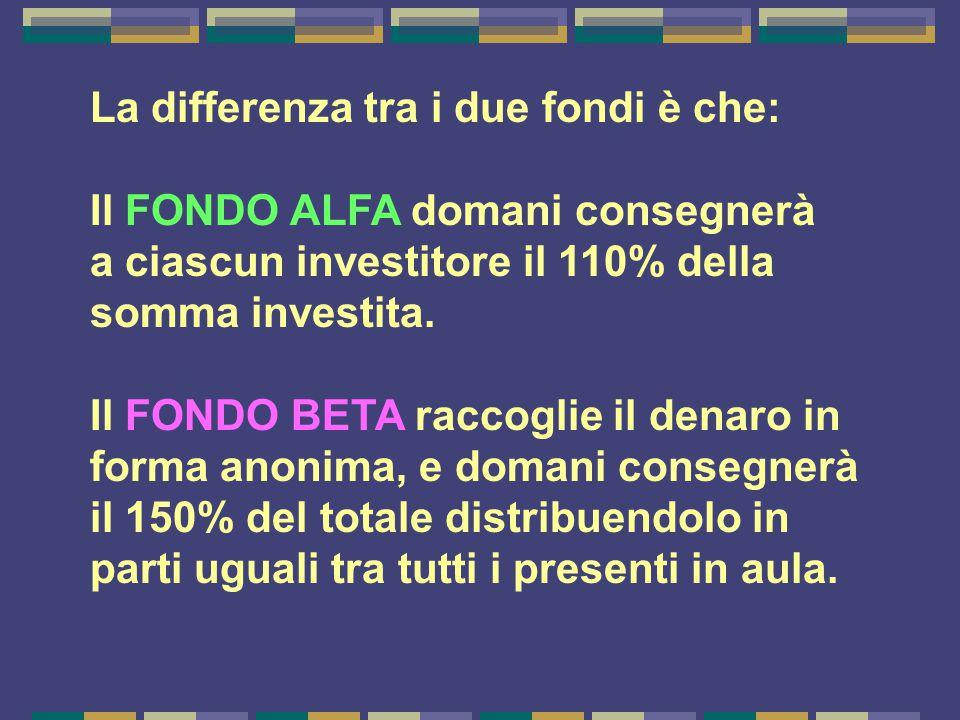 La differenza tra i due fondi è che: Il FONDO ALFA domani consegnerà a ciascun investitore il 110% della somma investita. Il FONDO BETA raccoglie il d
