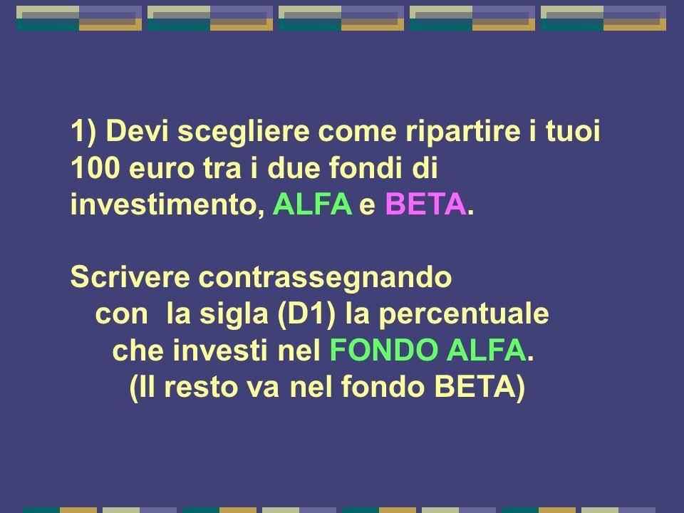 1) Devi scegliere come ripartire i tuoi 100 euro tra i due fondi di investimento, ALFA e BETA.