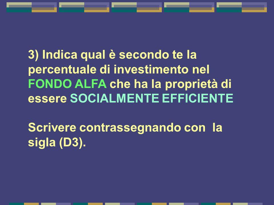 3) Indica qual è secondo te la percentuale di investimento nel FONDO ALFA che ha la proprietà di essere SOCIALMENTE EFFICIENTE Scrivere contrassegnando con la sigla (D3).