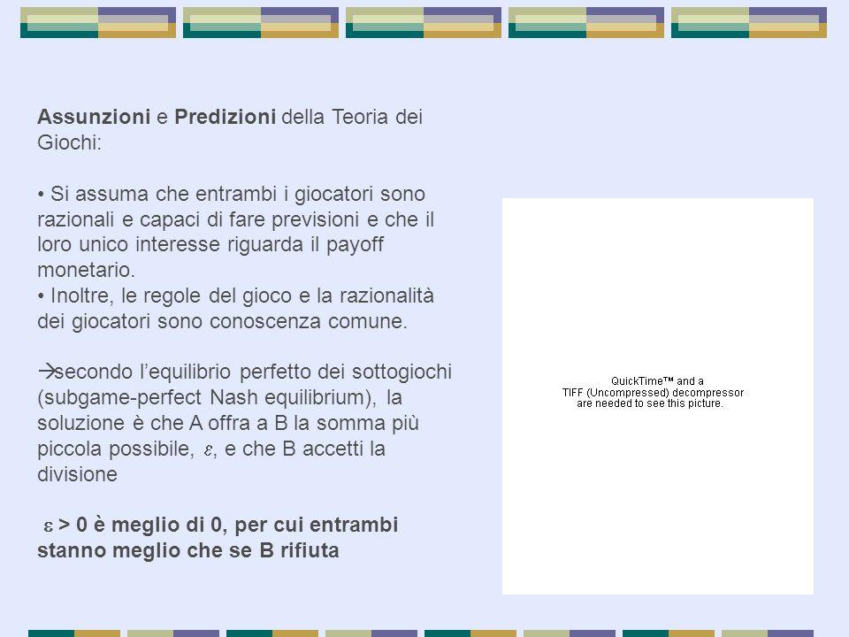 Assunzioni e Predizioni della Teoria dei Giochi: Si assuma che entrambi i giocatori sono razionali e capaci di fare previsioni e che il loro unico int