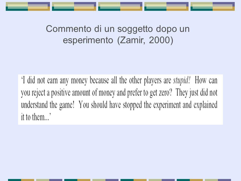 Commento di un soggetto dopo un esperimento (Zamir, 2000)