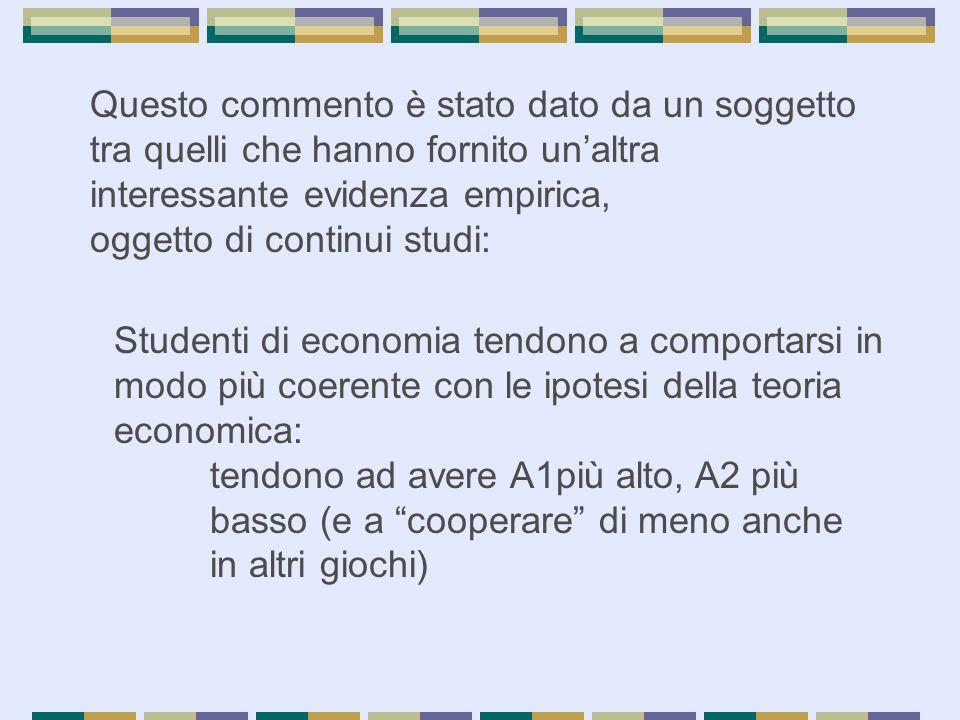 Questo commento è stato dato da un soggetto tra quelli che hanno fornito un'altra interessante evidenza empirica, oggetto di continui studi: Studenti
