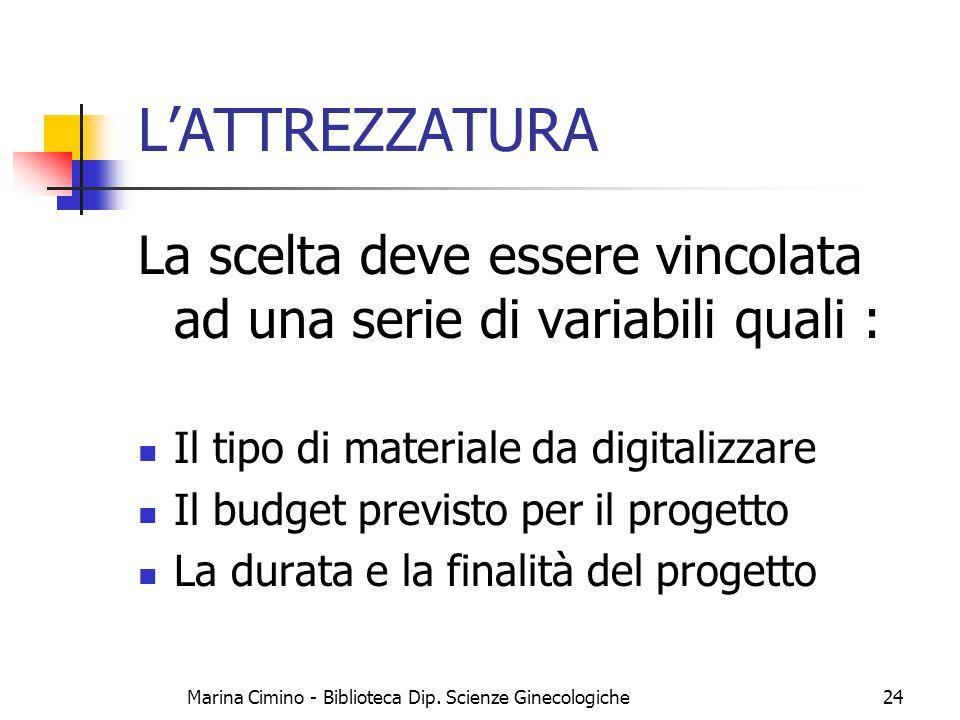 Marina Cimino - Biblioteca Dip. Scienze Ginecologiche24 L'ATTREZZATURA La scelta deve essere vincolata ad una serie di variabili quali : Il tipo di ma