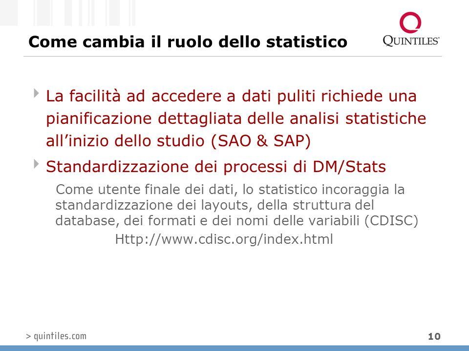 10 Come cambia il ruolo dello statistico  La facilità ad accedere a dati puliti richiede una pianificazione dettagliata delle analisi statistiche all