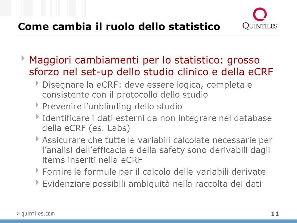 11 Come cambia il ruolo dello statistico  Maggiori cambiamenti per lo statistico: grosso sforzo nel set-up dello studio clinico e della eCRF  Disegn