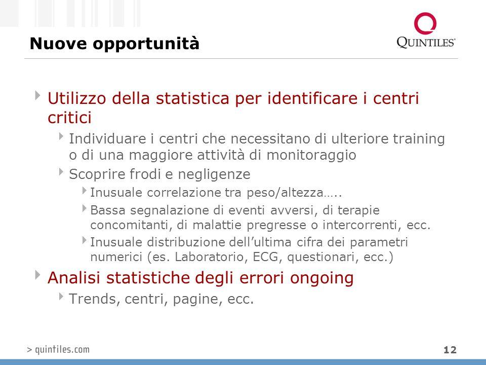 12 Nuove opportunità  Utilizzo della statistica per identificare i centri critici  Individuare i centri che necessitano di ulteriore training o di u