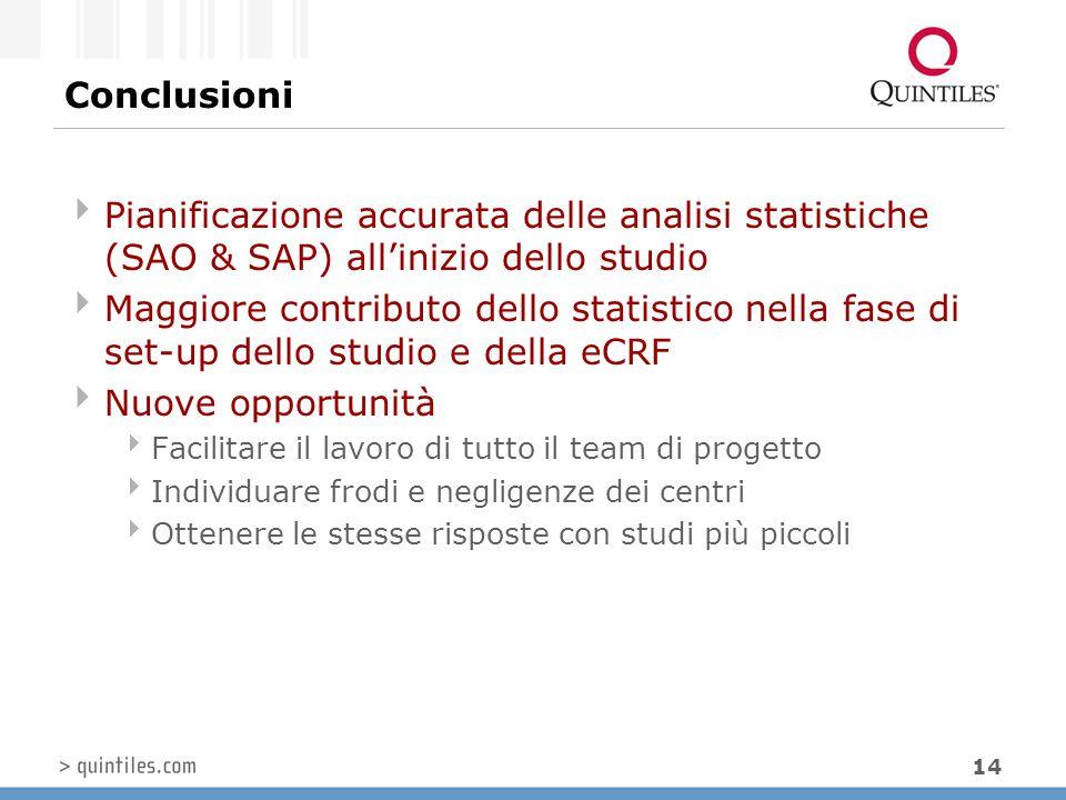 14 Conclusioni  Pianificazione accurata delle analisi statistiche (SAO & SAP) all'inizio dello studio  Maggiore contributo dello statistico nella fa