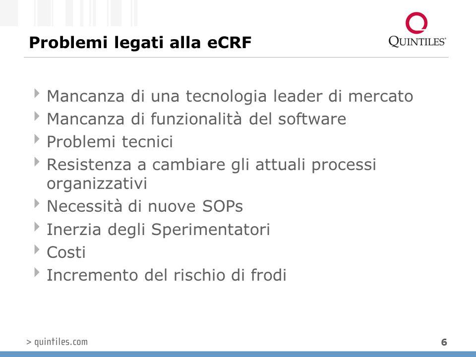 6 Problemi legati alla eCRF  Mancanza di una tecnologia leader di mercato  Mancanza di funzionalità del software  Problemi tecnici  Resistenza a c