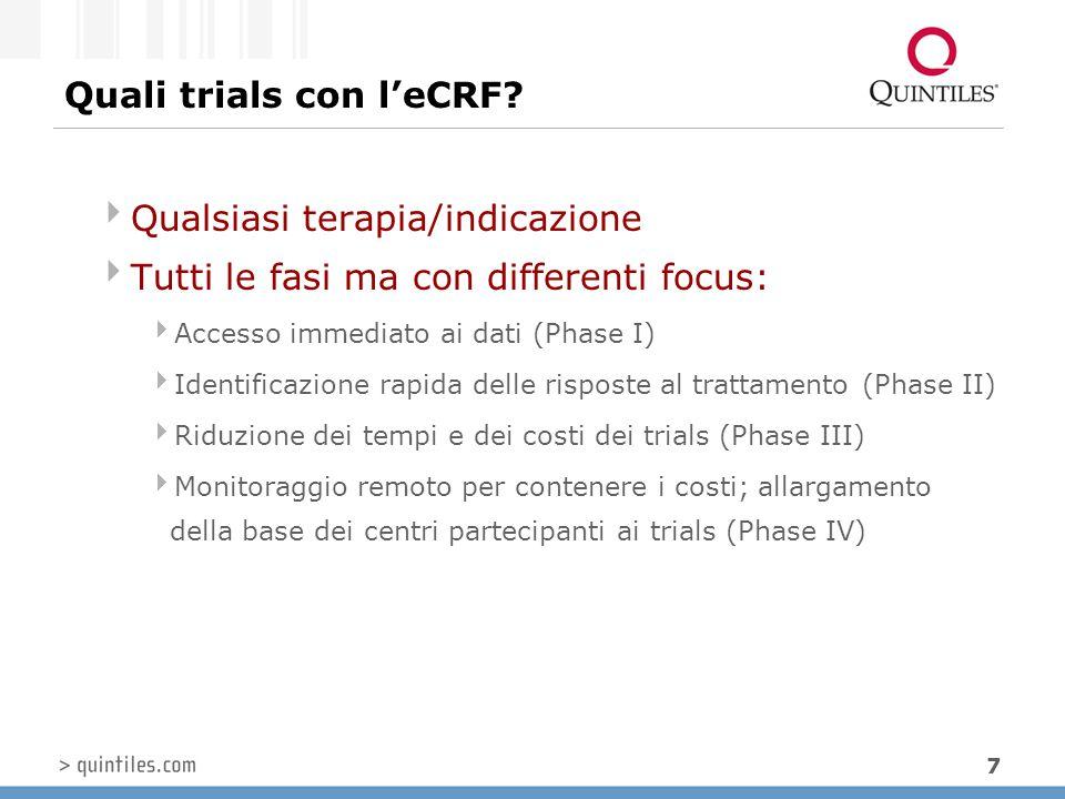 7 Quali trials con l'eCRF?  Qualsiasi terapia/indicazione  Tutti le fasi ma con differenti focus:  Accesso immediato ai dati (Phase I)  Identifica