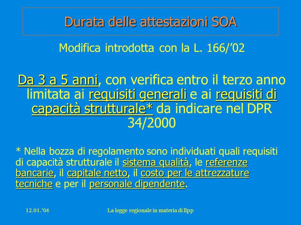 12.01.'04La legge regionale in materia di llpp Durata delle attestazioni SOA Modifica introdotta con la L.