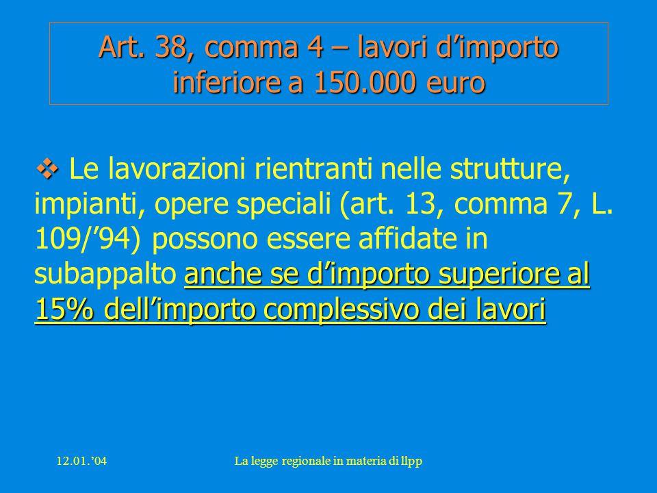 12.01.'04La legge regionale in materia di llpp Art. 38, comma 4 – lavori d'importo inferiore a 150.000 euro  anche se d'importo superiore al 15% dell
