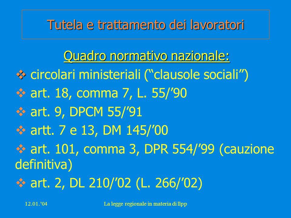12.01.'04La legge regionale in materia di llpp Tutela e trattamento dei lavoratori Quadro normativo nazionale:   circolari ministeriali ( clausole sociali )  art.