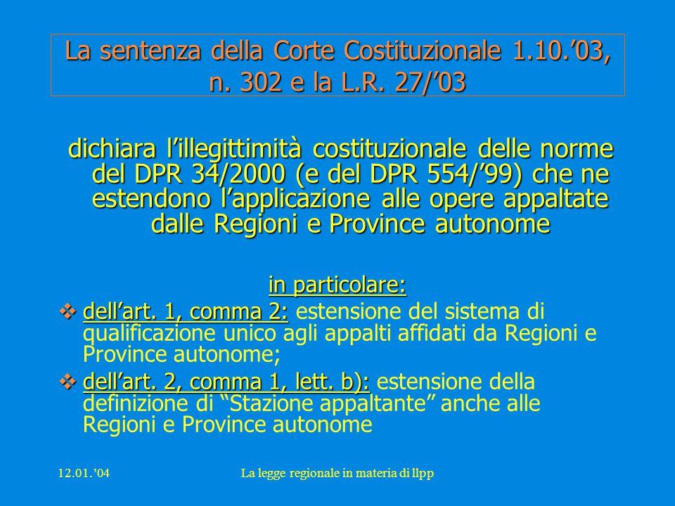 12.01.'04La legge regionale in materia di llpp Art.