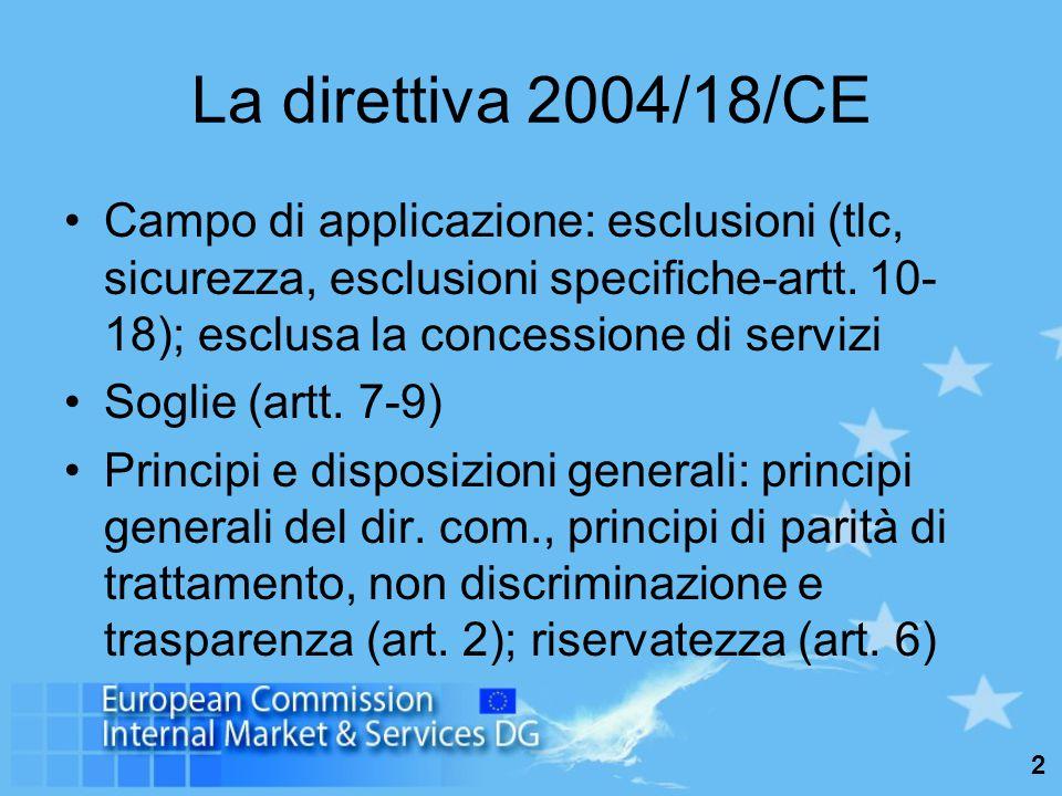 2 La direttiva 2004/18/CE Campo di applicazione: esclusioni (tlc, sicurezza, esclusioni specifiche-artt.