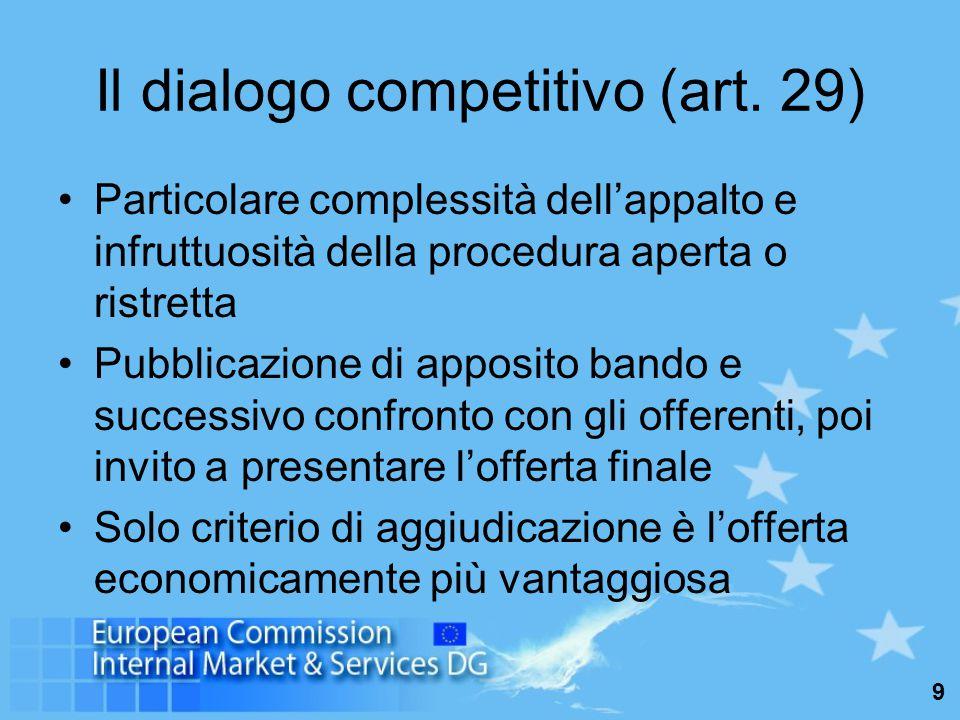 10 I concorsi di progettazione nel settore dei servizi Campo di applicazione e soglie: artt.