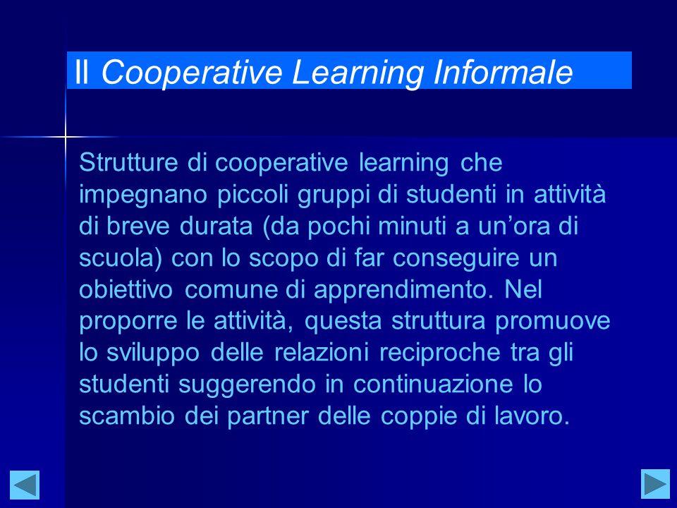 Il Cooperative Learning Informale Strutture di cooperative learning che impegnano piccoli gruppi di studenti in attività di breve durata (da pochi minuti a un'ora di scuola) con lo scopo di far conseguire un obiettivo comune di apprendimento.