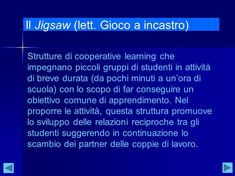 Il Jigsaw (lett. Gioco a incastro) Strutture di cooperative learning che impegnano piccoli gruppi di studenti in attività di breve durata (da pochi mi