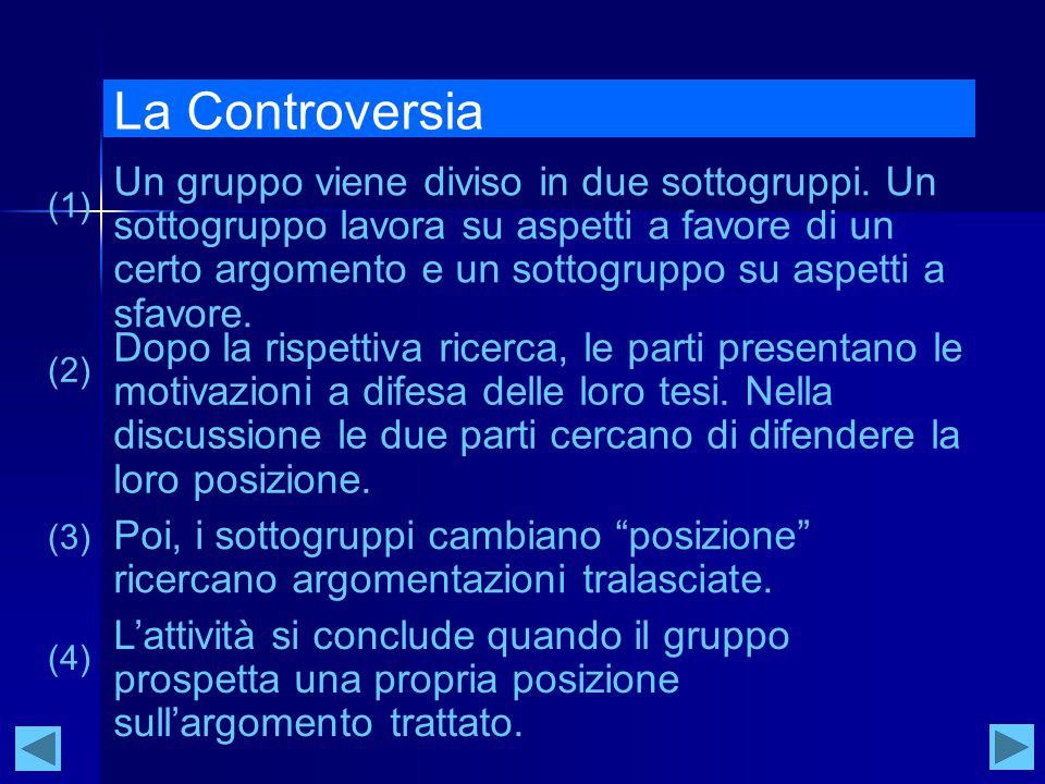 La Controversia Un gruppo viene diviso in due sottogruppi.
