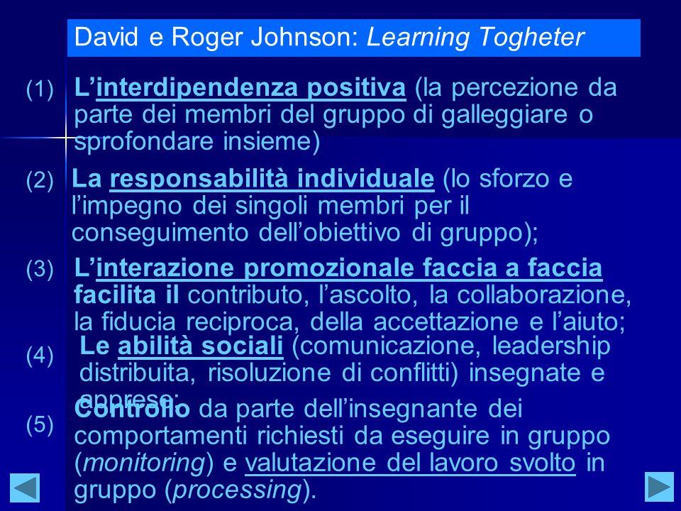 David e Roger Johnson: Learning Togheter L'interdipendenza positiva (la percezione da parte dei membri del gruppo di galleggiare o sprofondare insieme