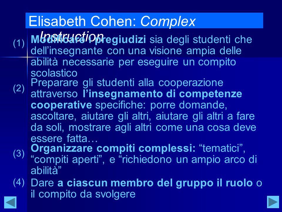 Elisabeth Cohen: Complex Instruction Modificare i pregiudizi sia degli studenti che dell'insegnante con una visione ampia delle abilità necessarie per eseguire un compito scolastico (1) Preparare gli studenti alla cooperazione attraverso l'insegnamento di competenze cooperative specifiche: porre domande, ascoltare, aiutare gli altri, aiutare gli altri a fare da soli, mostrare agli altri come una cosa deve essere fatta… (2) Organizzare compiti complessi: tematici , compiti aperti , e richiedono un ampio arco di abilità (3) Dare a ciascun membro del gruppo il ruolo o il compito da svolgere (4)