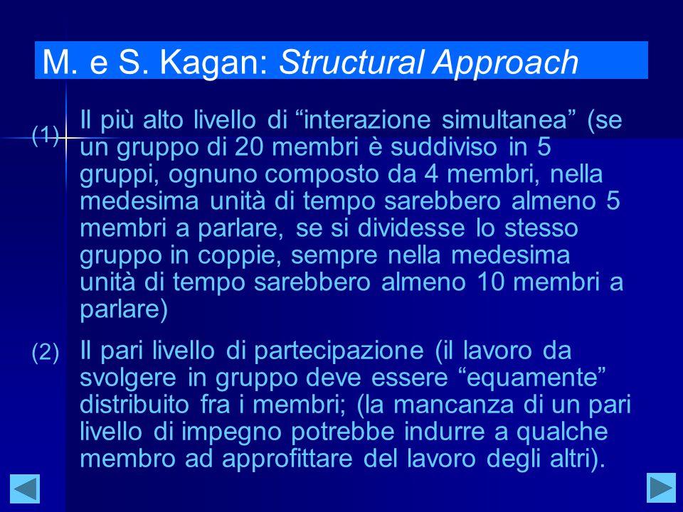 """M. e S. Kagan: Structural Approach Il più alto livello di """"interazione simultanea"""" (se un gruppo di 20 membri è suddiviso in 5 gruppi, ognuno composto"""