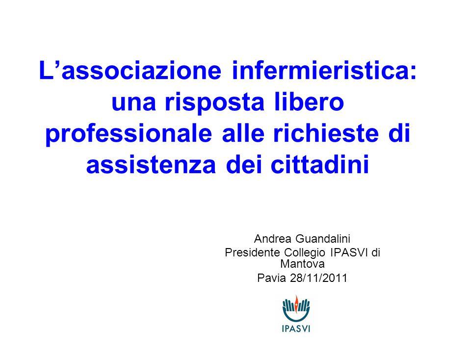 L'associazione infermieristica: una risposta libero professionale alle richieste di assistenza dei cittadini Andrea Guandalini Presidente Collegio IPASVI di Mantova Pavia 28/11/2011