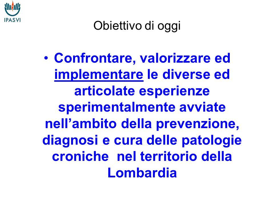 Obiettivo di oggi Confrontare, valorizzare ed implementare le diverse ed articolate esperienze sperimentalmente avviate nell'ambito della prevenzione, diagnosi e cura delle patologie croniche nel territorio della Lombardia