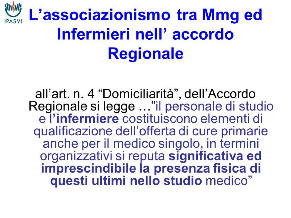 L'associazionismo tra Mmg ed Infermieri nell' accordo Regionale all'art.