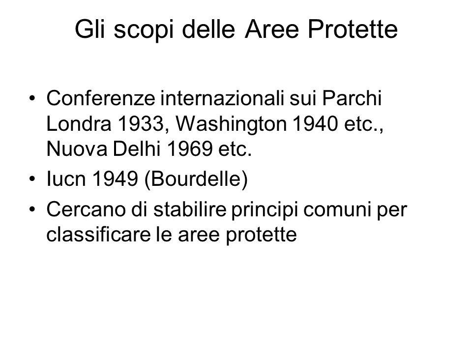 Gli scopi delle Aree Protette Conferenze internazionali sui Parchi Londra 1933, Washington 1940 etc., Nuova Delhi 1969 etc.