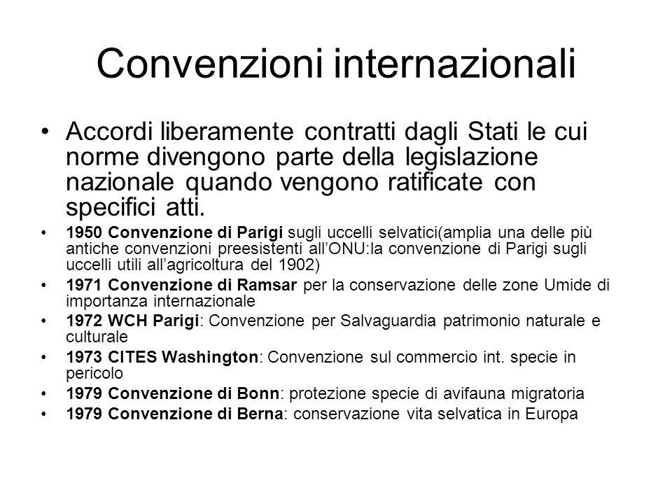 Convenzioni internazionali Accordi liberamente contratti dagli Stati le cui norme divengono parte della legislazione nazionale quando vengono ratificate con specifici atti.