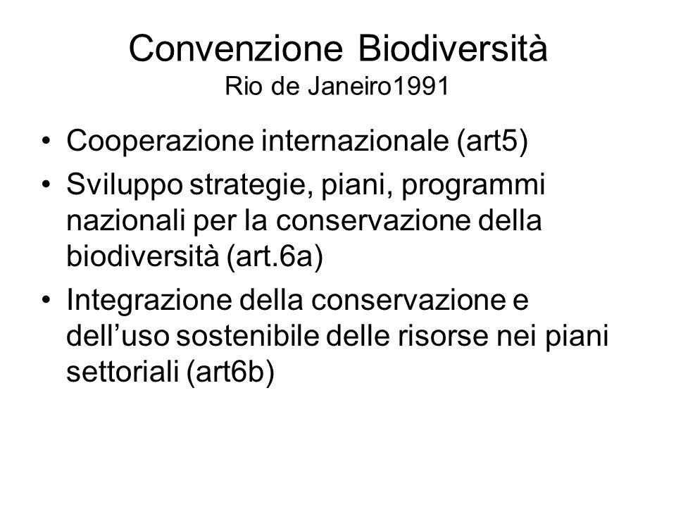 Convenzione Biodiversità Rio de Janeiro1991 Cooperazione internazionale (art5) Sviluppo strategie, piani, programmi nazionali per la conservazione della biodiversità (art.6a) Integrazione della conservazione e dell'uso sostenibile delle risorse nei piani settoriali (art6b)