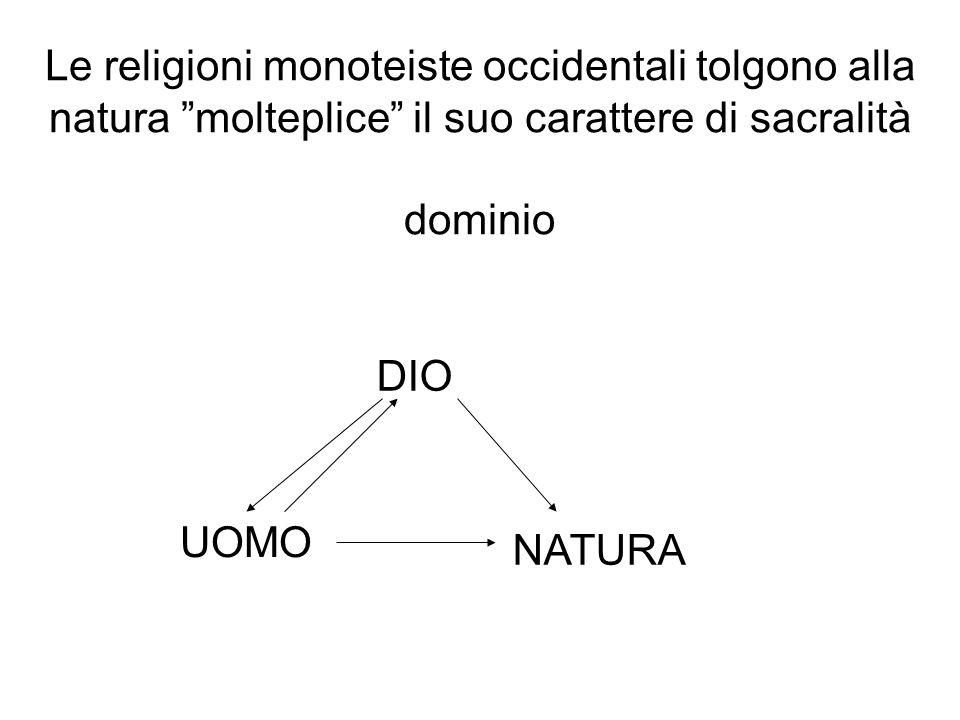 Le religioni monoteiste occidentali tolgono alla natura molteplice il suo carattere di sacralità dominio DIO UOMO NATURA