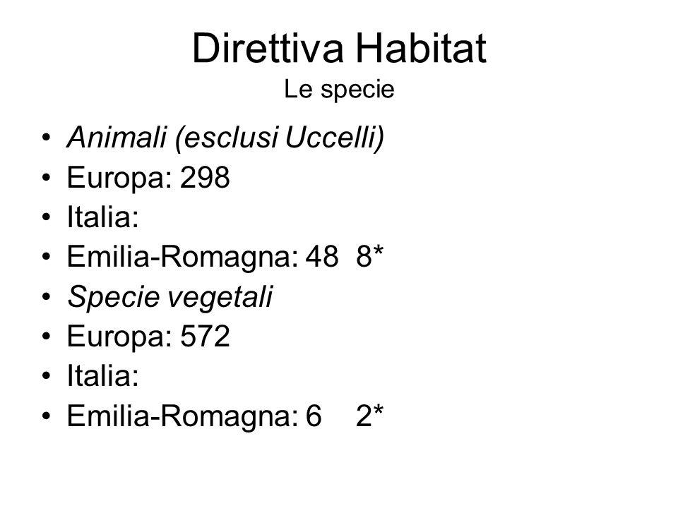 Direttiva Habitat Le specie Animali (esclusi Uccelli) Europa: 298 Italia: Emilia-Romagna: 48 8* Specie vegetali Europa: 572 Italia: Emilia-Romagna: 6 2*