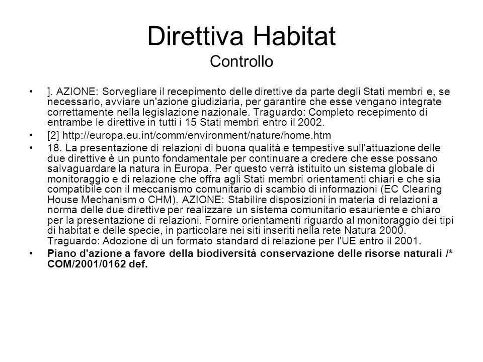 Direttiva Habitat Controllo ]. AZIONE: Sorvegliare il recepimento delle direttive da parte degli Stati membri e, se necessario, avviare un'azione giud