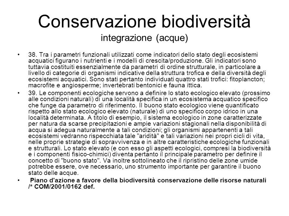 Conservazione biodiversità integrazione (acque) 38.