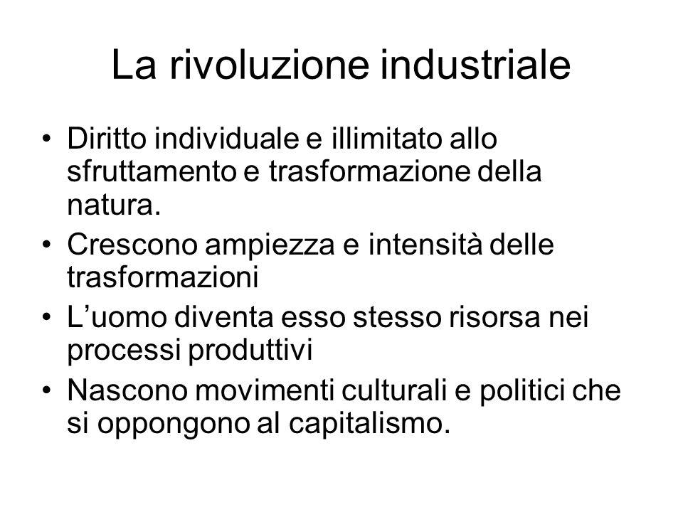 La rivoluzione industriale Diritto individuale e illimitato allo sfruttamento e trasformazione della natura.