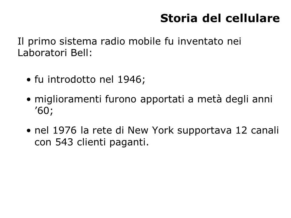 Storia del cellulare Il primo sistema radio mobile fu inventato nei Laboratori Bell: fu introdotto nel 1946; miglioramenti furono apportati a metà degli anni '60; nel 1976 la rete di New York supportava 12 canali con 543 clienti paganti.