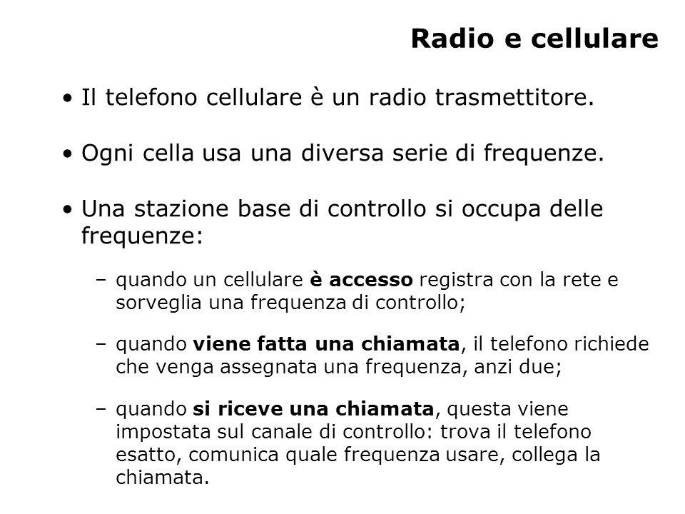 Radio e cellulare Il telefono cellulare è un radio trasmettitore.