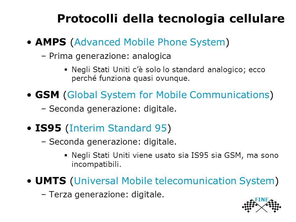 Protocolli della tecnologia cellulare FINE AMPS (Advanced Mobile Phone System) – Prima generazione: analogica  Negli Stati Uniti c'è solo lo standard analogico; ecco perché funziona quasi ovunque.
