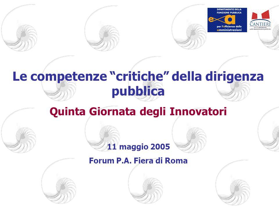 Le competenze critiche della dirigenza pubblica Quinta Giornata degli Innovatori 11 maggio 2005 Forum P.A.