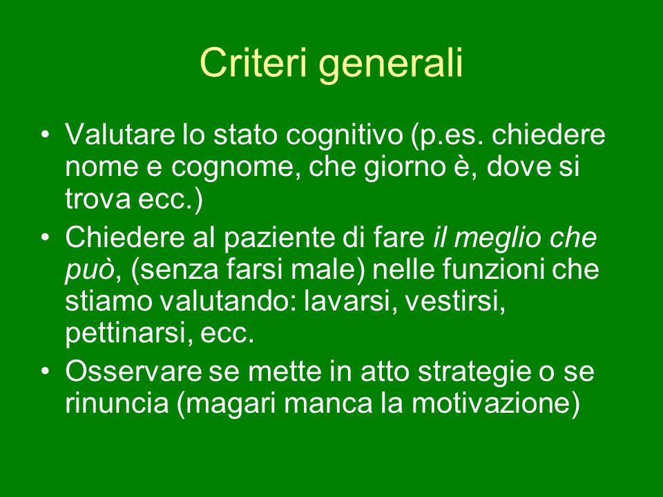 Criteri generali Valutare lo stato cognitivo (p.es. chiedere nome e cognome, che giorno è, dove si trova ecc.) Chiedere al paziente di fare il meglio