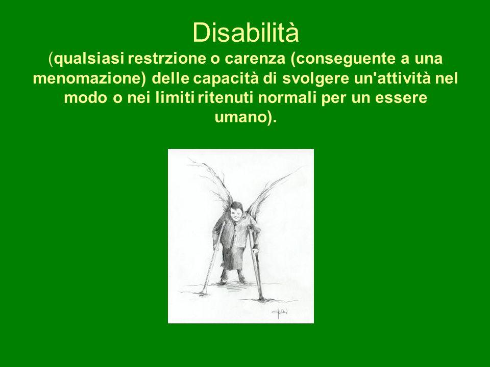 Disabilità (qualsiasi restrzione o carenza (conseguente a una menomazione) delle capacità di svolgere un'attività nel modo o nei limiti ritenuti norma