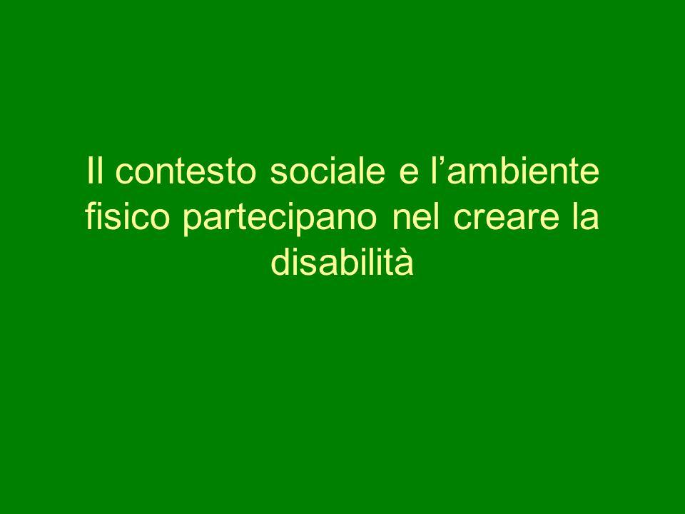 Il contesto sociale e l'ambiente fisico partecipano nel creare la disabilità